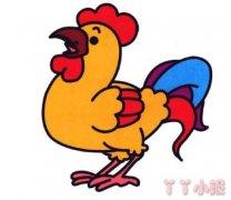 大公鸡简笔画图片 涂色大公鸡怎么画
