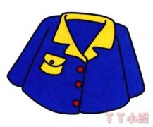 蓝色衣服简笔画图片 涂色上衣怎么画简单