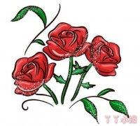 最简单漂亮玫瑰花简笔画步骤教程手绘涂色