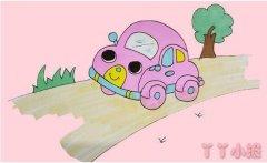 卡通小汽车的画法步骤涂色 小汽车简笔画