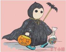 卡通万圣节小幽灵简笔画步骤涂颜色简单