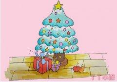圣诞树怎么画简笔画步骤涂色简单又漂亮