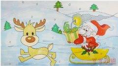 怎么画圣诞老人和麋鹿简笔画步骤涂颜色