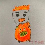 卡通猪猪侠怎么画简单画法步骤教程涂色