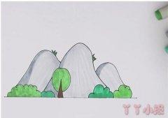 儿童画山峰简笔画怎么画涂色简单漂亮