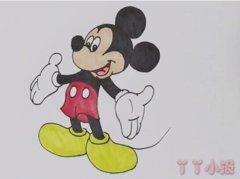 卡通迪士尼米奇简笔画怎么画带步骤涂色