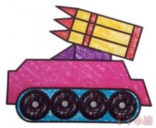 导弹车简笔画涂色 卡通导弹车怎么画好看
