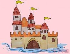 彩色城堡手绘怎么画涂颜色简单漂亮带步骤图
