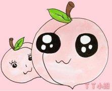 儿童卡通桃子手绘怎么画涂颜色简单漂亮