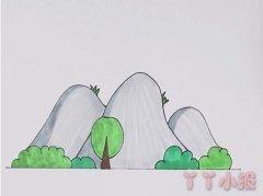 幼儿园山峰简笔画怎么画涂色简单漂亮