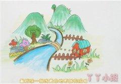 怎么画山川河流风景简笔画涂色简单漂亮