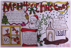 圣诞节快乐英文手抄报内容及图片小学生