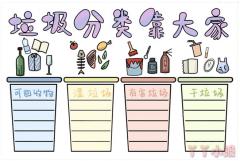 怎么画垃圾分类靠大家小学生手抄报图片
