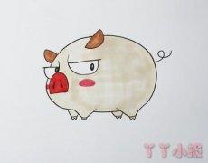 教你怎么画可爱小猪简笔画步骤教程涂色