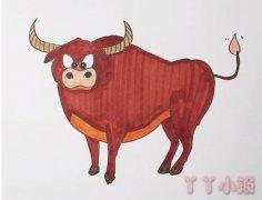 教你一步一步画黄牛简笔画步骤教程涂色
