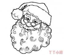 手绘素描圣诞老人头像简笔画的画法简单好看