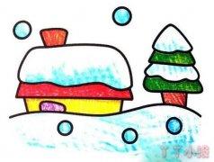雪屋雪景怎么画涂色简笔画简单又漂亮