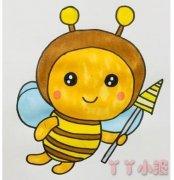 简笔画卡通小蜜蜂的画法步骤教程涂色简单