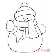 卡通胖胖小雪人怎么画简笔画画法步骤简单可爱