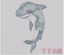 怎么画鲨鱼简笔画步骤教程涂色简单好看