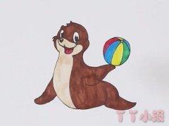 怎么画海狮顶球简笔画教程涂色简单