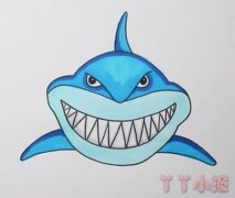 怎么画巨齿鲨鱼简笔画步骤教程涂色简单