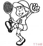 打网球小男孩怎么画简笔画简单又好看