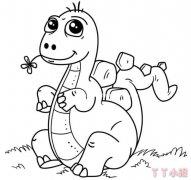 调皮可爱卡通恐龙简笔画怎么画简单可爱