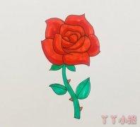 七夕玫瑰花简笔画怎么画简单又漂亮涂色