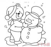 小熊雪人简笔画图片 小雪人的画法教程