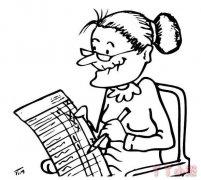 怎么画看报纸的老奶奶简笔画简单好看