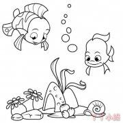 卡通海底世界儿童画怎么画简单又漂亮